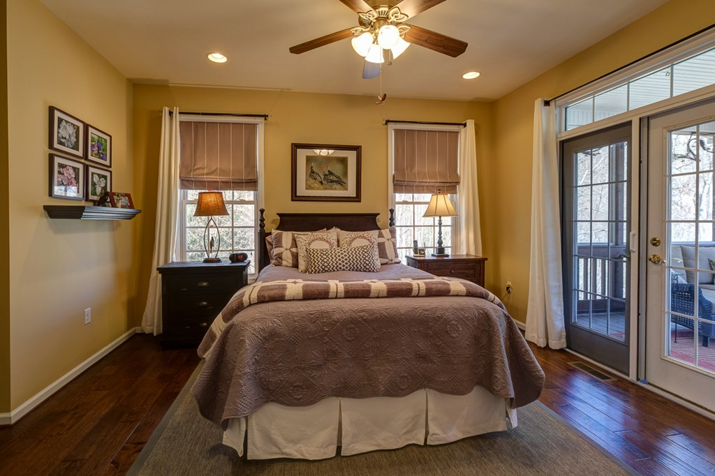 Master bedroom with access to screen porch
